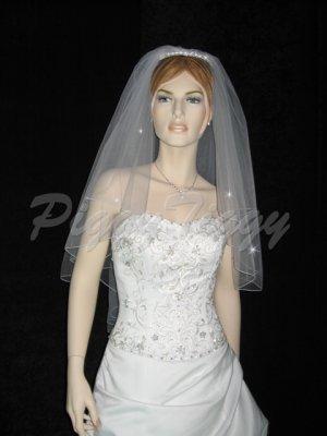 2 Tier White Bridal Fingertip Pencil Edge Swarovski Crystal Wedding Veil V124wt