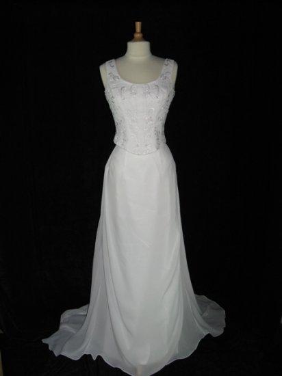 NEW ELEGANT CHIFFON EMBROIDERED IVORY 2-PCS WEDDING DRESS BRIDAL GOWN SIZE 10