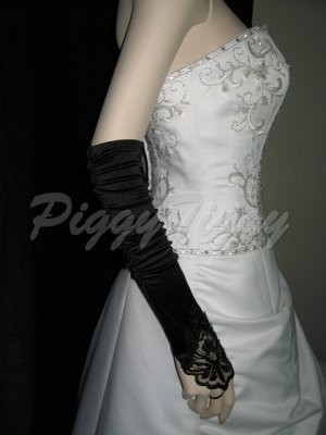 "19"" Black Fingerless Satin Lace Beading Formal Bridal Wedding Party Prom Costume Gloves G2b19"