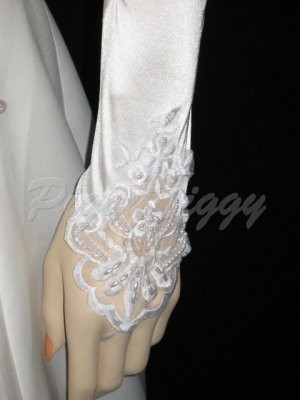 "19"" White Fingerless Satin Lace Beading Formal Party Costume Bridal Wedding Prom Gloves G2w19"
