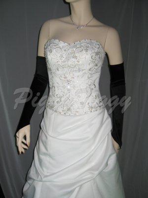 "23"" Black Fingerless Satin Formal Wedding Bridal Party Prom Costume Opera Long Gloves G3b23"