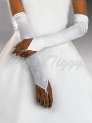 "23"" White Fingerless Satin Formal Wedding Bridal Party Prom Costume Opera Long Gloves G3w23"
