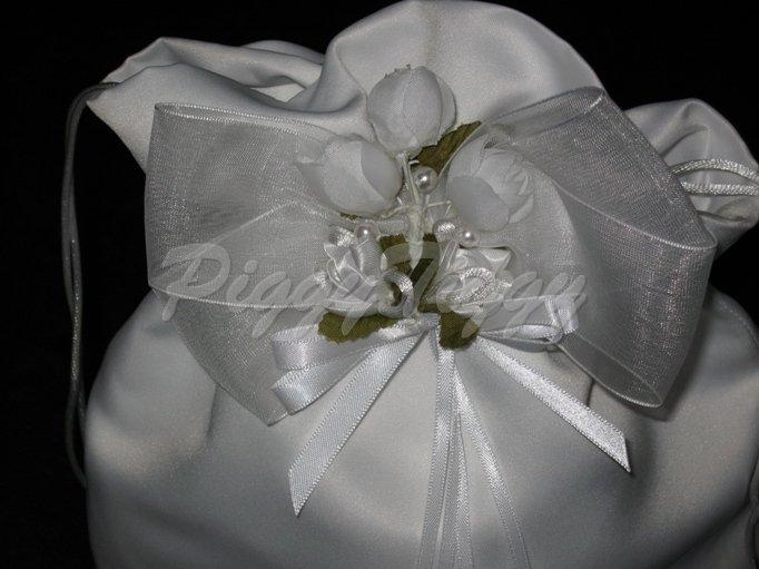 White Satin Bridal Wedding Money Bag Cardholder Coin Purse Ps102