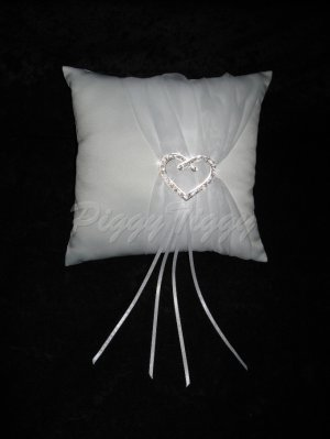 Heart Rhinestone Accents Wedding Bridal Ring Bearer Pillow Rp101