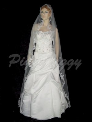 "White Bridal Wedding Mantilla Veil Chapel 1-1/2"" Lace Swarovski Crystals 90x60 Vmav66-1wt"