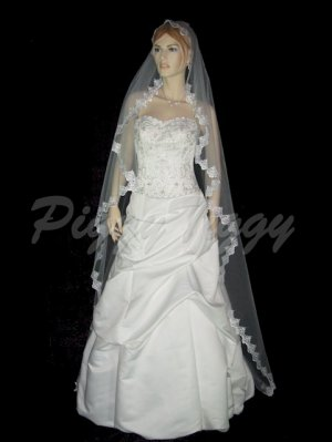 "White Bridal Wedding Mantilla Veil White Chapel 2"" Lace Swarovski Crystals 90x60 Vmav66-2"