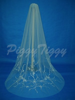 1 Tier Bridal Wedding Veil White Cathedral Cut Embroider Beaded 100x100