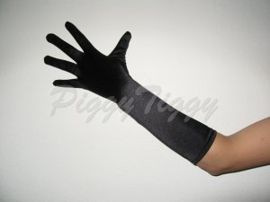 "15"" Black Stretch Satin Bridal Elbow Length Formal Wedding Dress Party Prom Costume Gloves G101bk15"