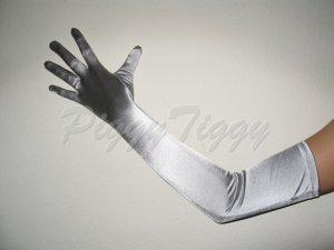 "23"" Silver Stretch Satin Bridal Wedding Dress Formal Party Prom Costume Long Opera Gloves G1sv23"