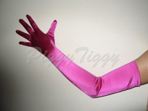 "23"" Fuchsia Stretch Satin Bridal Wedding Dress Formal Party Prom Costume Long Opera Gloves G1fs23"