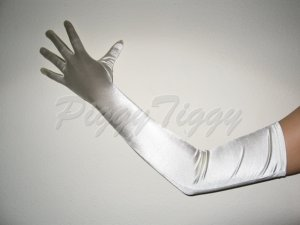 "23"" Ivory Stretch Satin Bridal Wedding Dress Formal Party Prom Costume Long Opera Gloves G1iv23"