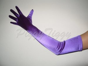 "23"" Purple Stretch Satin Bridal Wedding Dress Formal Party Prom Costume Long Opera Gloves G1pp23"
