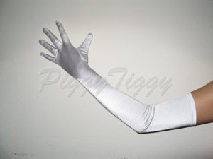 "23"" White Stretch Satin Bridal Wedding Dress Formal Costume Party Prom Long Opera Gloves G1w23"