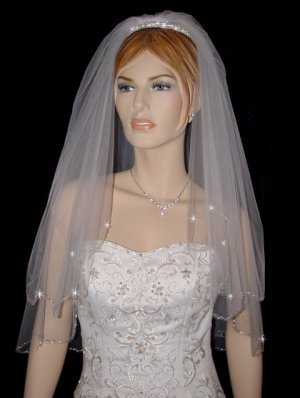 2 Tier Elbow White Wedding Bridal Veil Beaded Edge Crystal Drops V112ewt