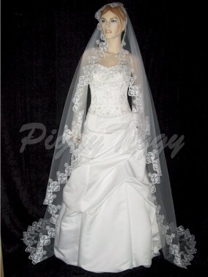 "White Cathedral Mantilla Bridal Wedding Veil with 5"" Lace Swarovski Crystals 104x80 v681wt"