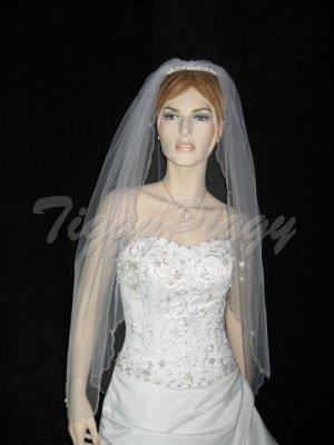 1 Tier White Bridal Elbow Scallop Cut Beaded Wedding Tiara Veil v18ewt