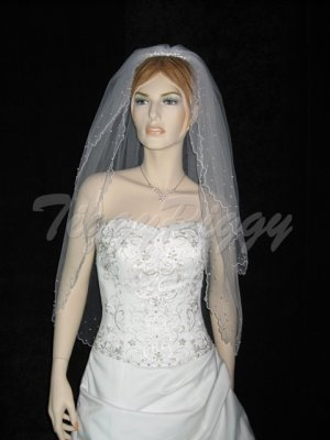 2 Tier White Wedding Veil Bridal Elbow Length Pearl Accents Tiara Veil v01ewt