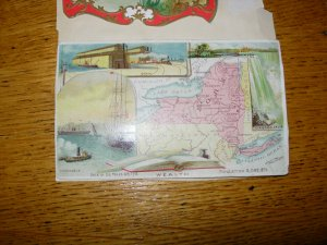 Arbuckle Bros Coffee Trade Card Map of New York 1889