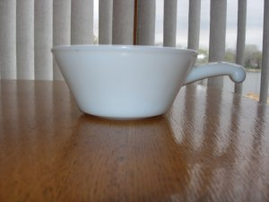 Anchor Hocking-Fire King Milk Glass Handled Soup Bowl