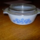 Anchor Hocking Fire King Cornflower 12oz Small Casserole Dish with Lid