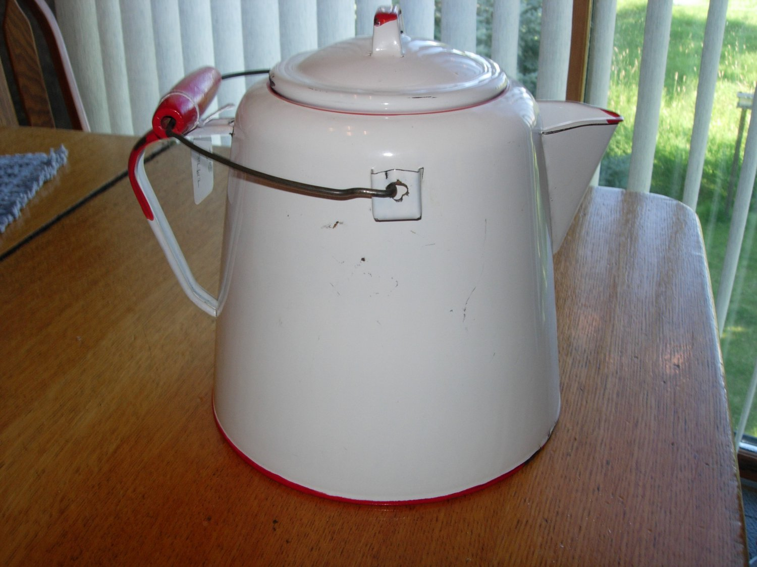 Antique White Porcelain Enamelware Coffee Pot