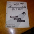Vintage 1960 Hiawatha 7.5hp Outboard Motor Owners Manual and Parts Guide for model OM3-7988B.