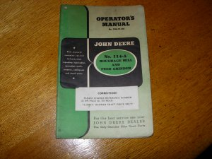 Original John Deere No 114A Roughage Mill and Feed Grinder Operators Manual