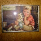 Vintage Little Boy and Dog Litho Advertising Print