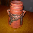 Roseville Laurel Red 671-7 Pottery Vase with Original Foil Tag