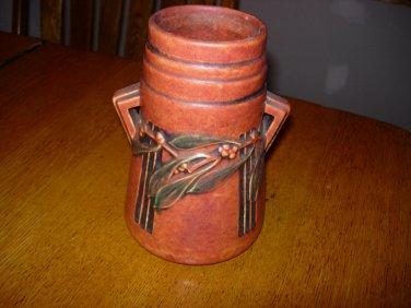 Roseville Laurel Red 671-7 Pottery Vase with Original Foil Tag