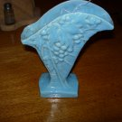 Vintage McCoy Aqua Blue Fan Vase with Grapes and Vines