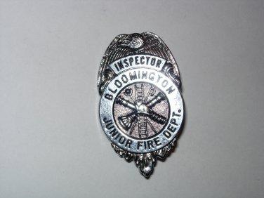 Vintage Bloomington Junior Fire Dept Inspector Badge