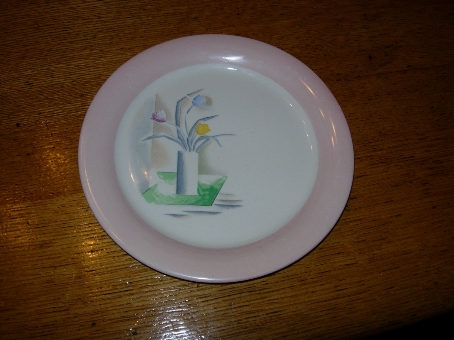 "Vintage Pink Homer Laughlin Eggshell 7 1/4"" Bread Plate."