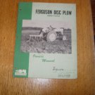 Massey Harris Ferguson Model P-AO-22 Plow Owners Manual