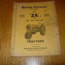 Vintage Minneapolis Moline ZA Tractor Repair Catalog