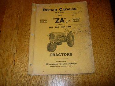 Vintage Minneapolis Moline ZA Tractor Repair Catalog