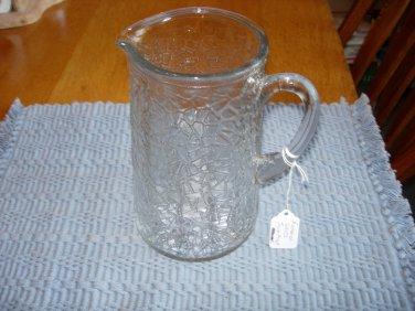 Vintage Federal Glass Jack Frost Crackle Glass Pitcher