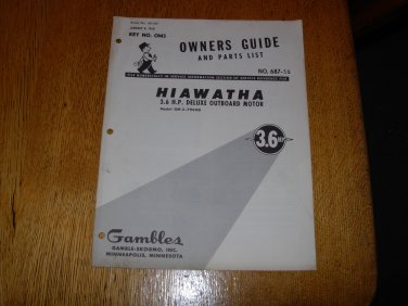 Vintage 1960 Hiawatha 3.6hp Outboard Motor Owners Manual and Parts Guide for model OM3-7960D