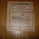 Original Van Brunt Plain High-Wheel Drill Operators Manual 1927