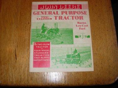 John Deere General Purpose Two Cylinder  Tractor Brochure
