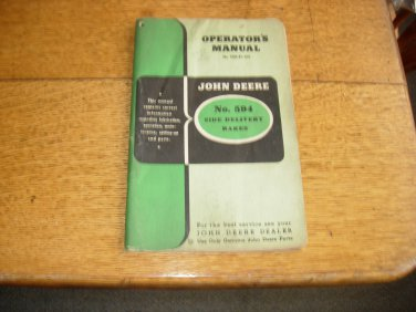John Deere no 594 Side Delivery Rake Owners Manual w/Parts List