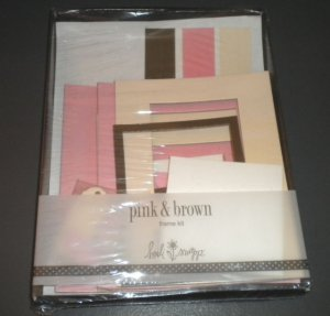 HEIDI SNAPP Cute Pink & Brown Picture Frame Kit for Scrapbooks - Brand new!