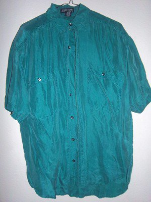 Structure Green 100% Silk Button Down Dress Shirt. Men's Size Small S Pre-owned