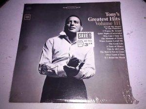 """Tony's Great Hits Volume III Columbia 12"""" Vinyl Record LP C 2373 VG+/NM"""