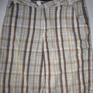 HURLEY Brand Brown Plaid Surfer Skater Casual Bermuda Shorts, Men's Size 32 NWOT