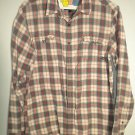 RIP CURL Plaid Button Down Long Sleeve Shirt Salmon Teal Men's Size Small S NWOT