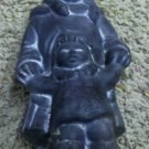Adorable Native Eskimo Mother and Child Black Ceramic Statue Figurine, Signed