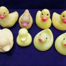 Lot of 8 collectible bath rubber duckies w/ clear rubber duck storage can basket