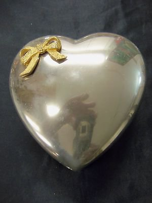 Vintage Silver Plated Metal Heart Shaped Box With Love Ribbon, Valentine's Day
