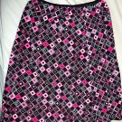 Wrapper Brand Women's Skirt, Pink Black & White Square Pattern 12W 22L Pre-Owned